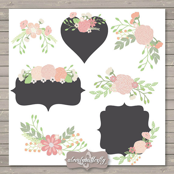 Wedding Flower Clipart Rustic Shabby Chic Clipart Rose Blush Red