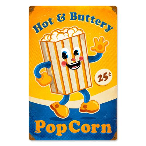 25 Cents Sign 25 Cents Popcorn Man Tin Metal