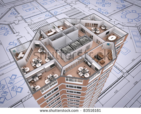 3d Cut Of Office Building On Architect S Drawing  Stock Photo 83516161