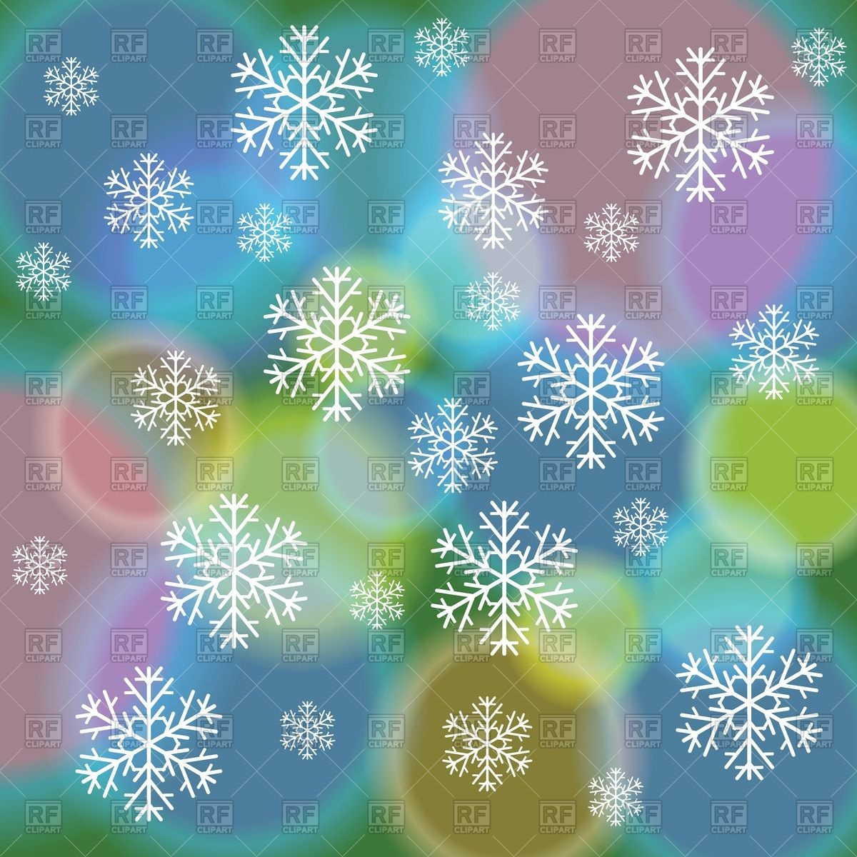 Abstract Winter Background With Colorful Spots And Snowflakes 39793