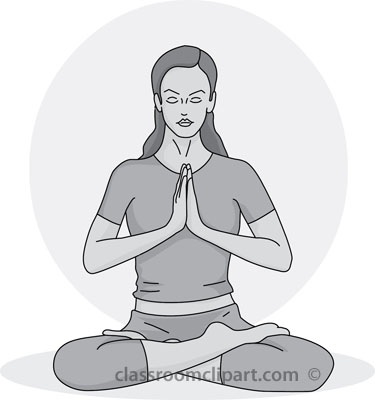 And White Clipart  Yoga Meditation Pose 09 Gray   Classroom Clipart