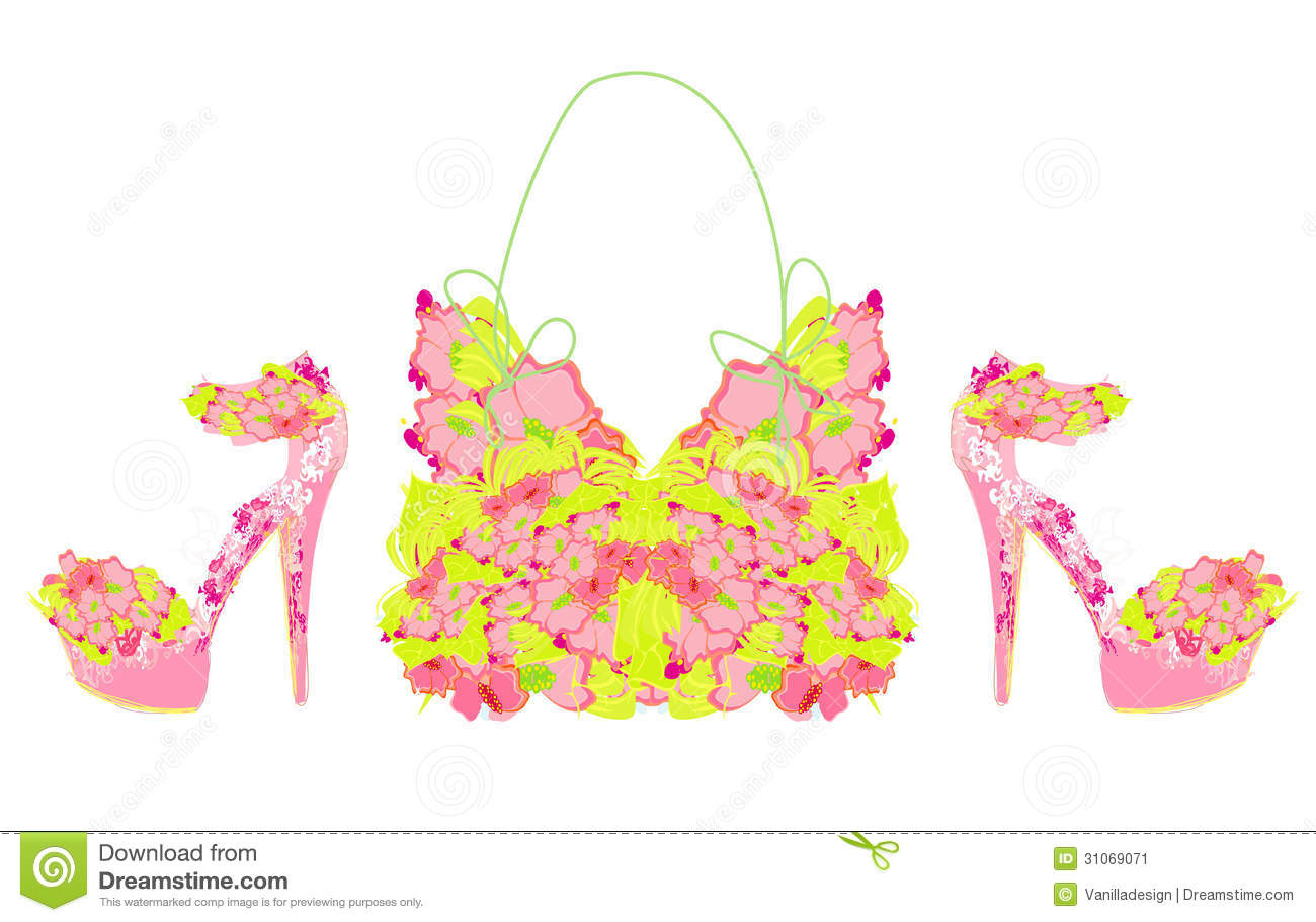Beautiful Floral Female Shoes And Bags Stock Image   Image  31069071