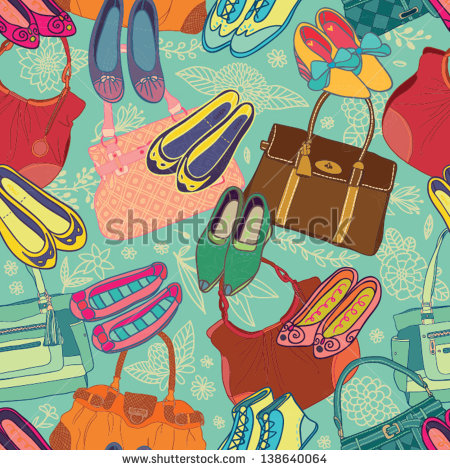 Beautiful Shoes And Handbags Blue Seamless Pattern   Stock Vector