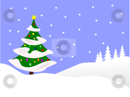 Blue Winter Scene Christmas Background Stock Vector Clipart A Winter