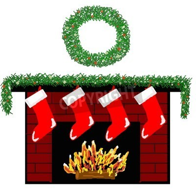 Christmas Stockings Fireplace Clipart Cozy Fireplace Decorated