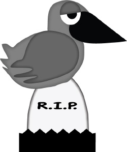Clip Art Of A Dark Crow Sitting On A Grave Marker In A Spooky