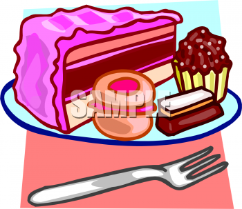 Clip Art Picture Of Cake Cupcakes A Cookie And A Piece Of Chocolate