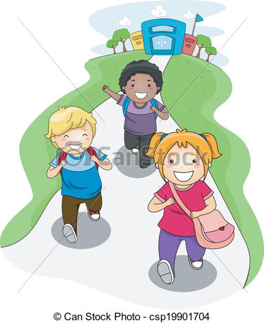 Clipart Of Going Home From School   Illustration Of Kids Going Home