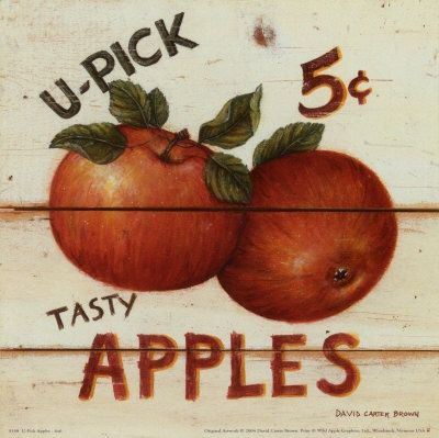 Dollhouse Miniature Vintage Sign Replica Apples Mini U Pick 5c   Ebay