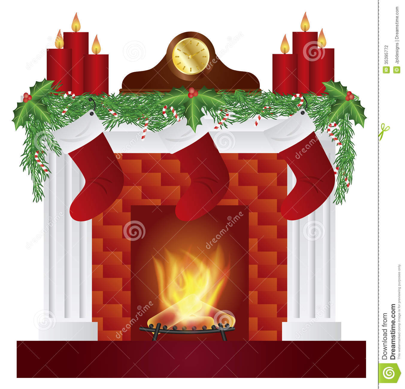Fireplace With Christmas Decoration Garland Stockings Candles Mantel