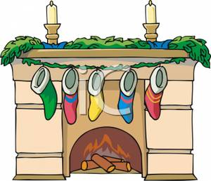 Fireplace With Stockings Hanging On The Mantle   Royalty Free Clipart