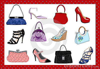 Ladies Bags And Shoes On A White Background   Vector Illustration