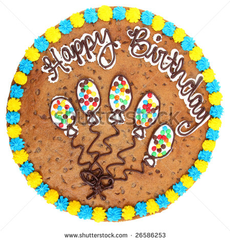 Large 18 Inch Cookie Cake With Happy Birthday In Icing  Stock Photo