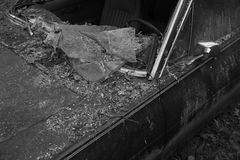 Of Black And White Picture Of Broken Window Of Old Car  Stock Images