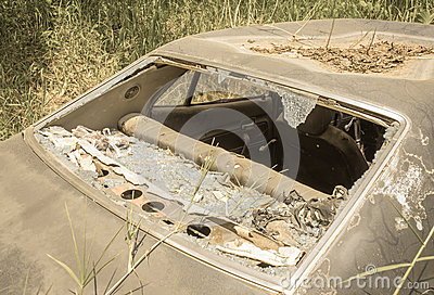 Old Dirty Car With Busted Window Stock Photo   Image  45729749