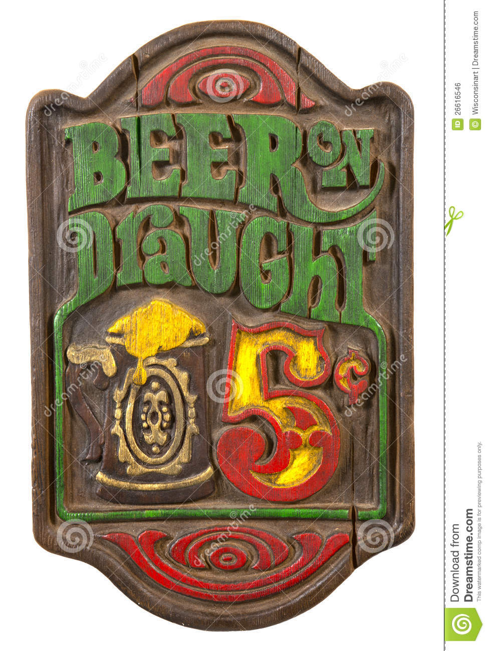 Old Retro Antique Draft Beer Sign Isolated White Royalty Free Stock