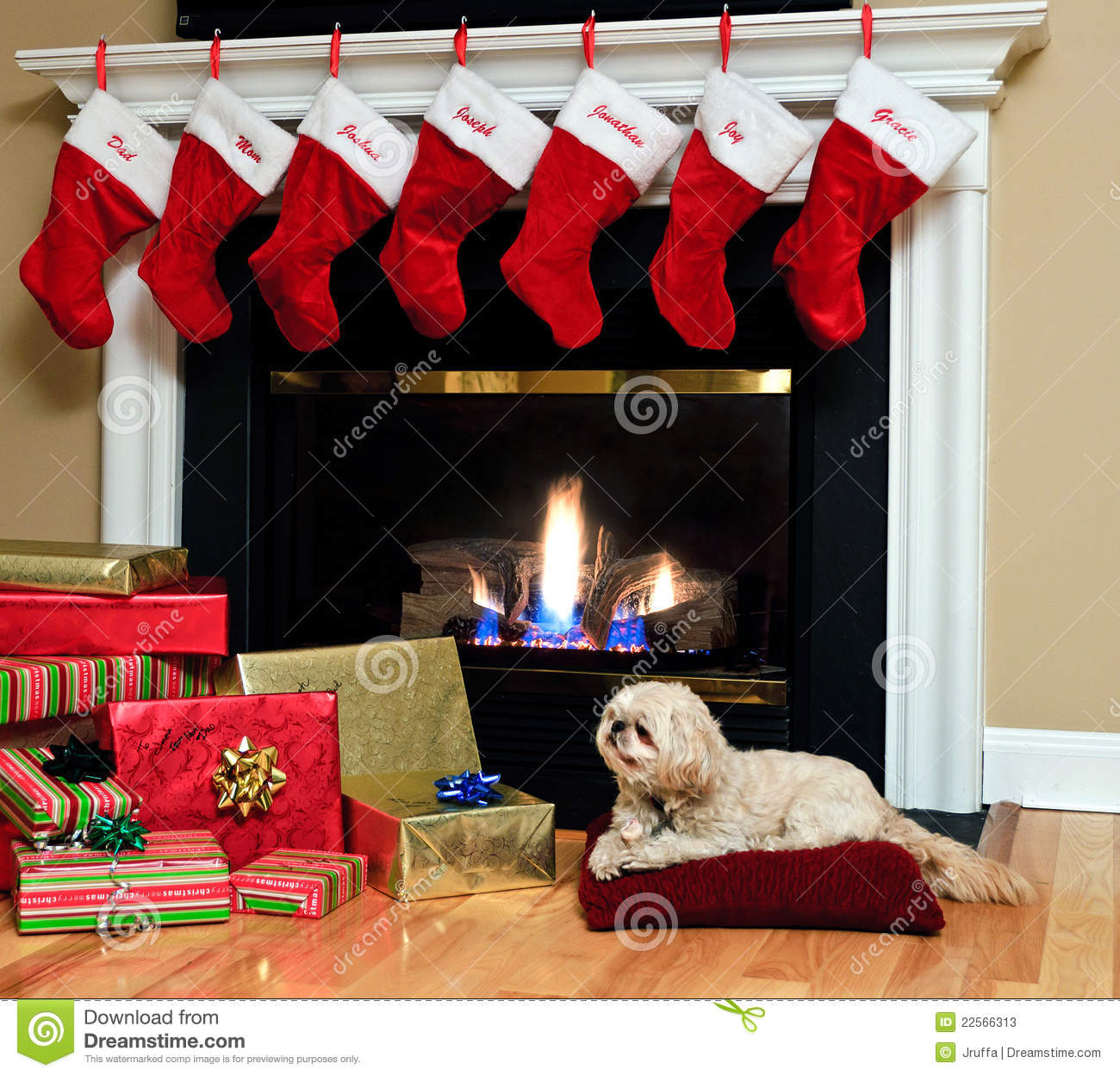 Red Christmas Stockings Hang From The Mantle Over A Blazing Fireplace