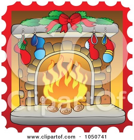 Royalty Free  Rf  Christmas Fireplace Clipart Illustrations Vector