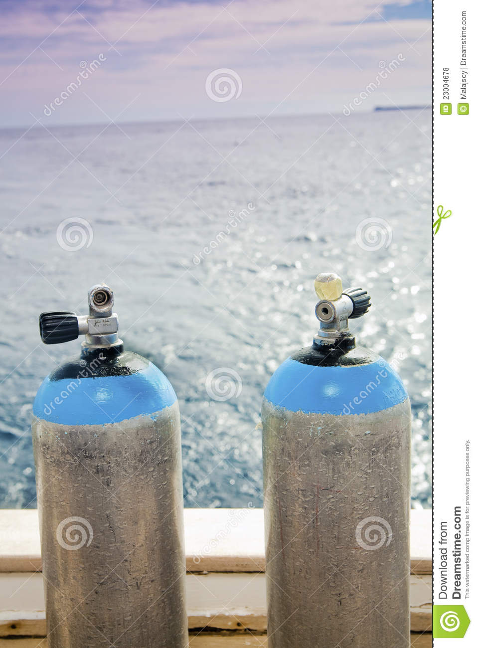 Scuba Diving Tanks Royalty Free Stock Photos   Image  23004678