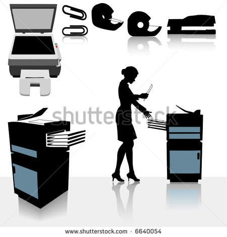 Set Of Copy Related Office Supplies Copiers And Office Worker