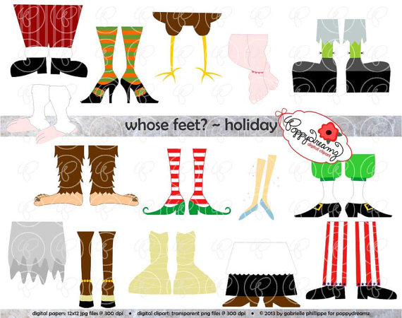 Whose Feet   Holiday Digital Clipart Pack  300 Dpi  Christmas