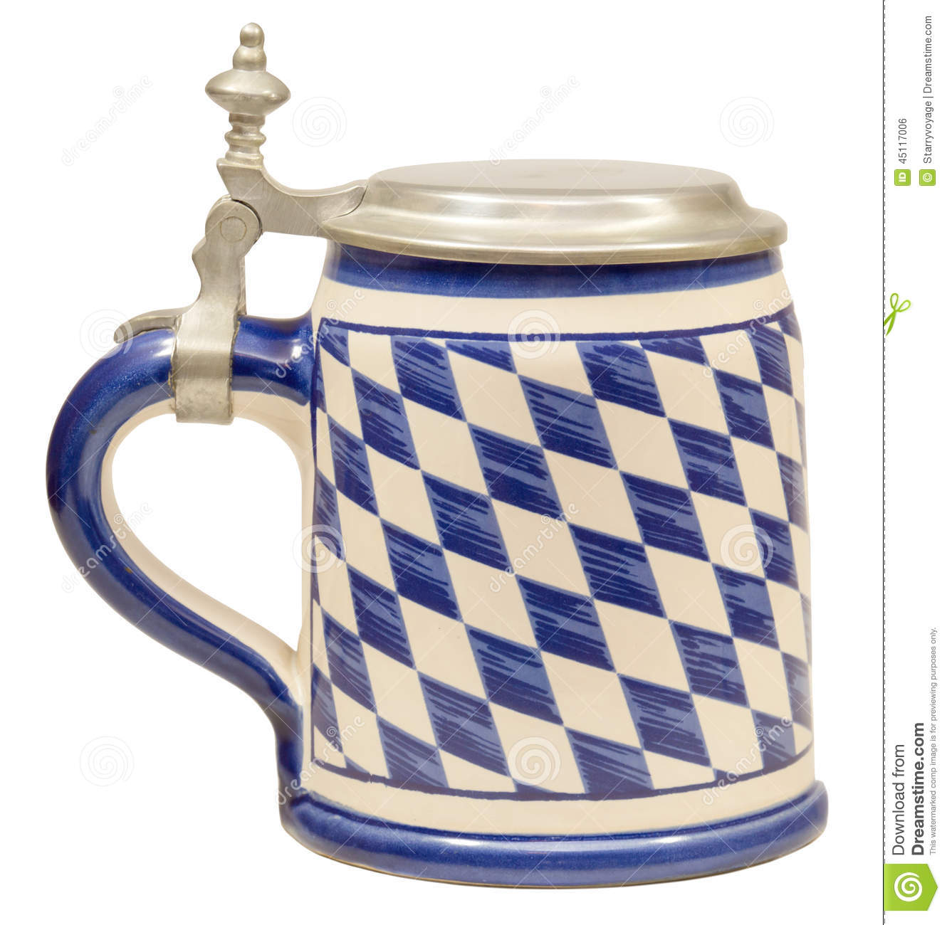An Isolated Bavarian Beer Stein Decorated In The Bavarian Flag Colors