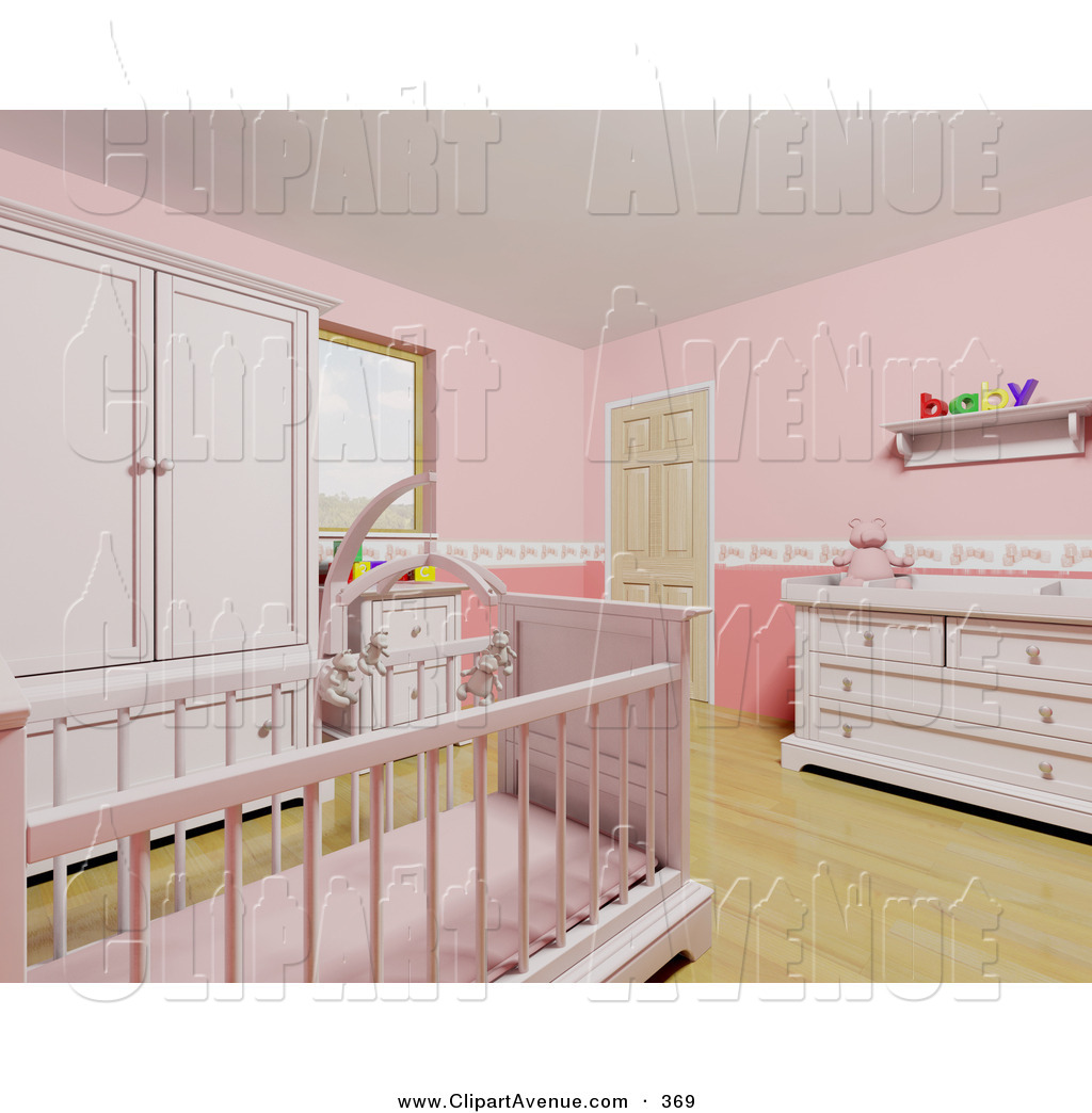 Avenue Clipart Of A Pink Baby Girl S Nursery Room With A Cute Teddy