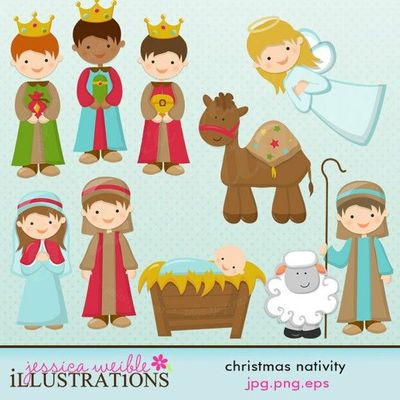 Christmas Nativity Cute Digital Clipart For Card Design Scrapbooking