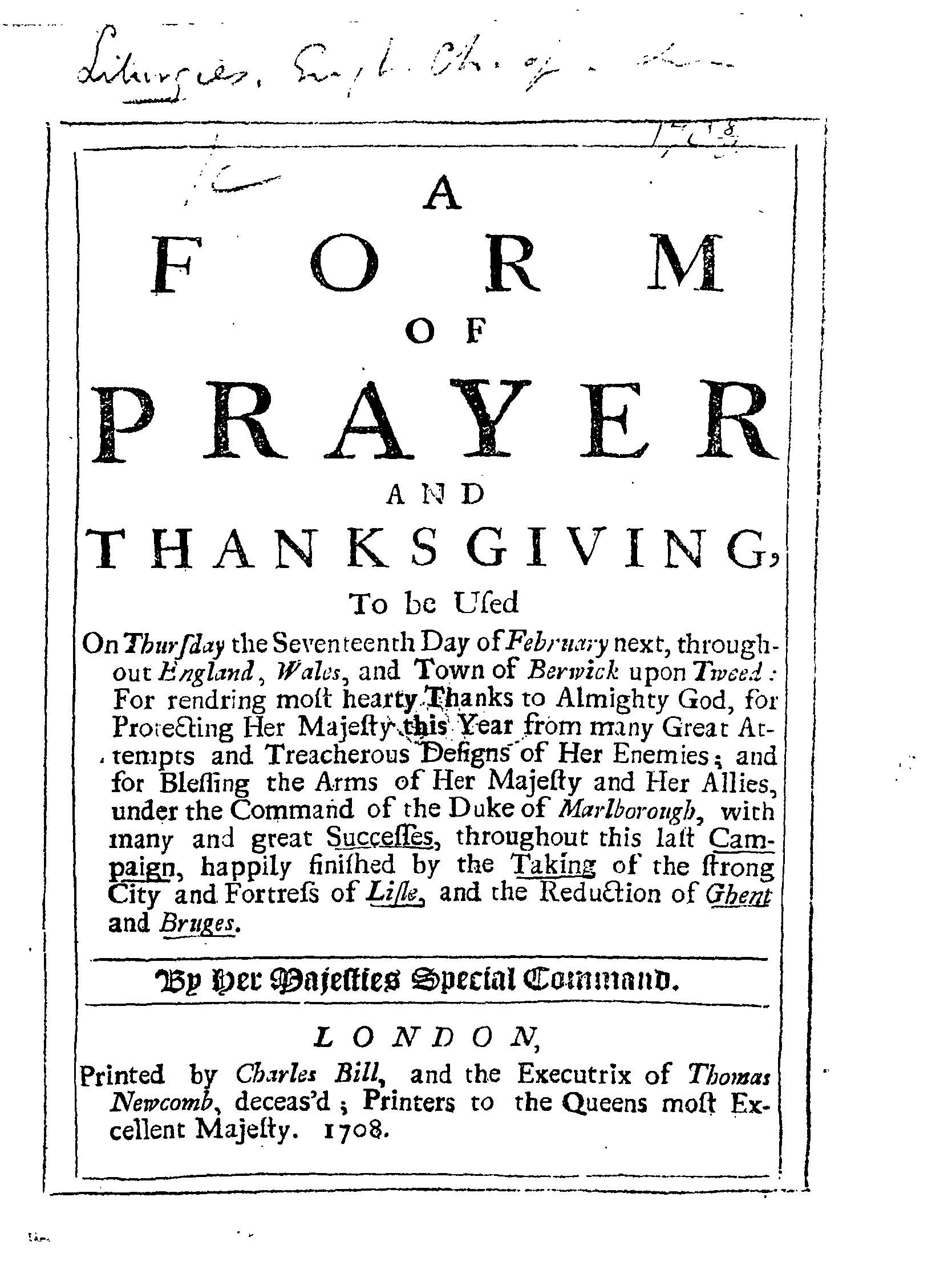 Here Is A Title Page From One Of The Orders Of Worship Published At