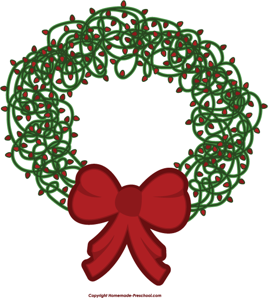 Home Free Clipart Christmas Clipart Christmas Lights Wreath