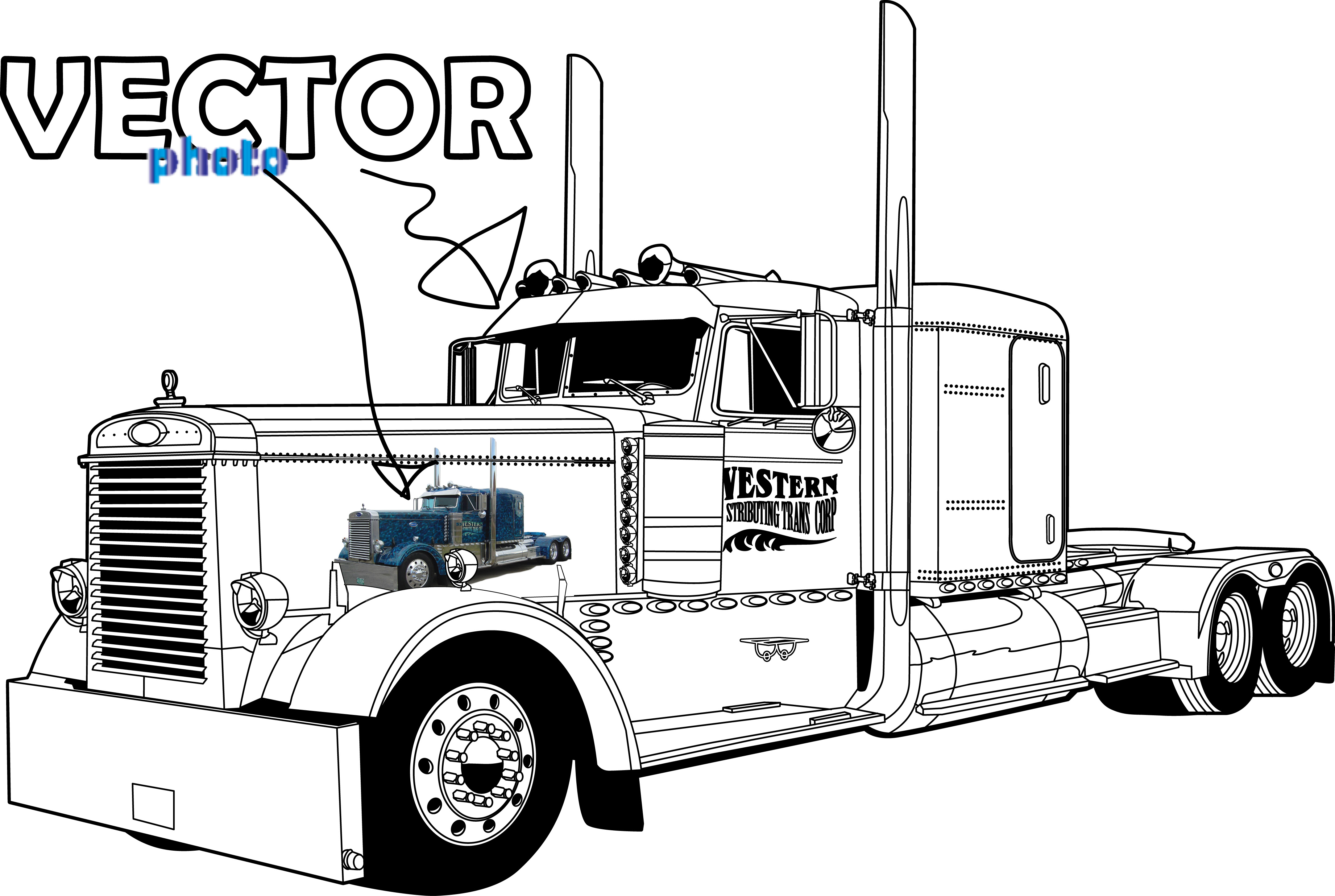 Peterbilt 379 Truck Clipart Clipart Suggest