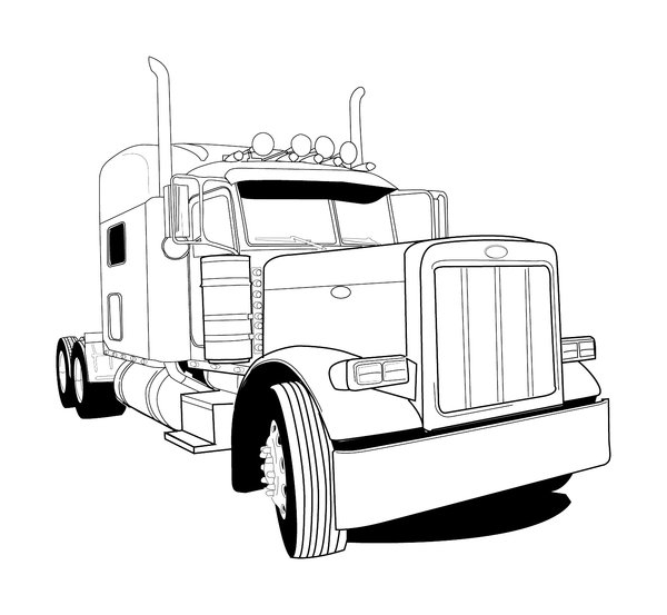 peterbilt semi trucks coloring pages | Peterbilt 379 Truck Clipart - Clipart Suggest