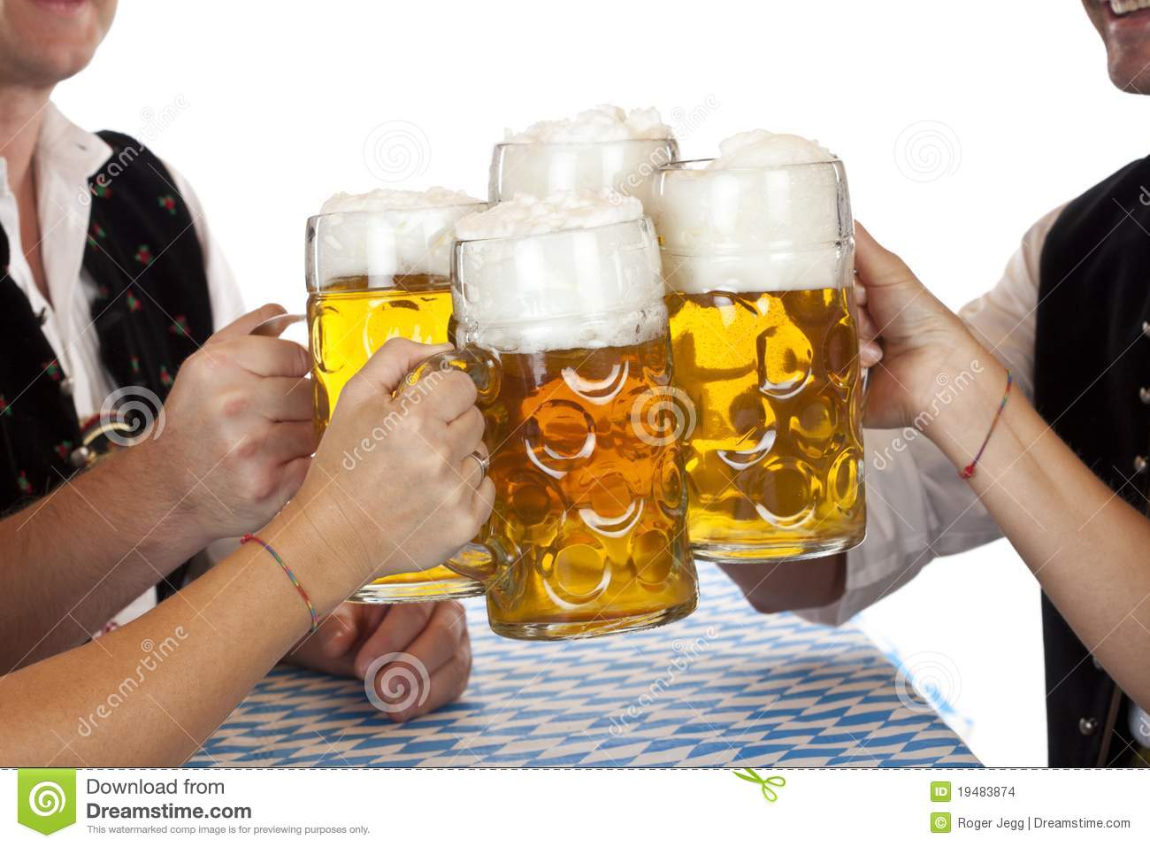 Bavarian Group Toast With Oktoberfest Beer Stein Stock Images   Image