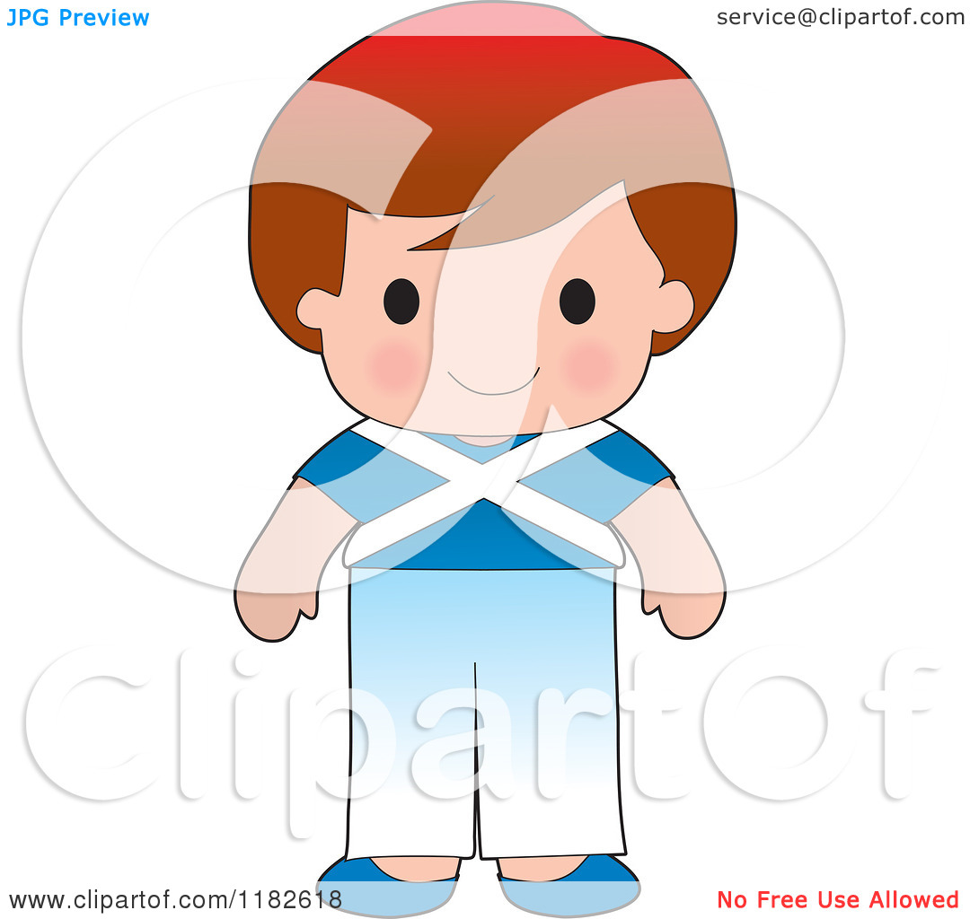 Boy Wearing Scottish Flag Clothing   Royalty Free Vector Clipart By