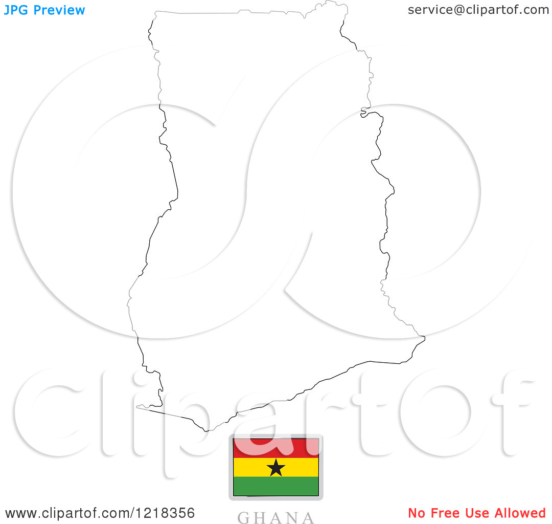 Clipart Of A Ghana Flag And Map Outline   Royalty Free Vector