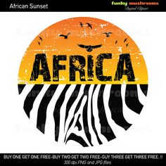 Digital Clipart Image Africa Sunset With Zebra By Funkymushrooms  3