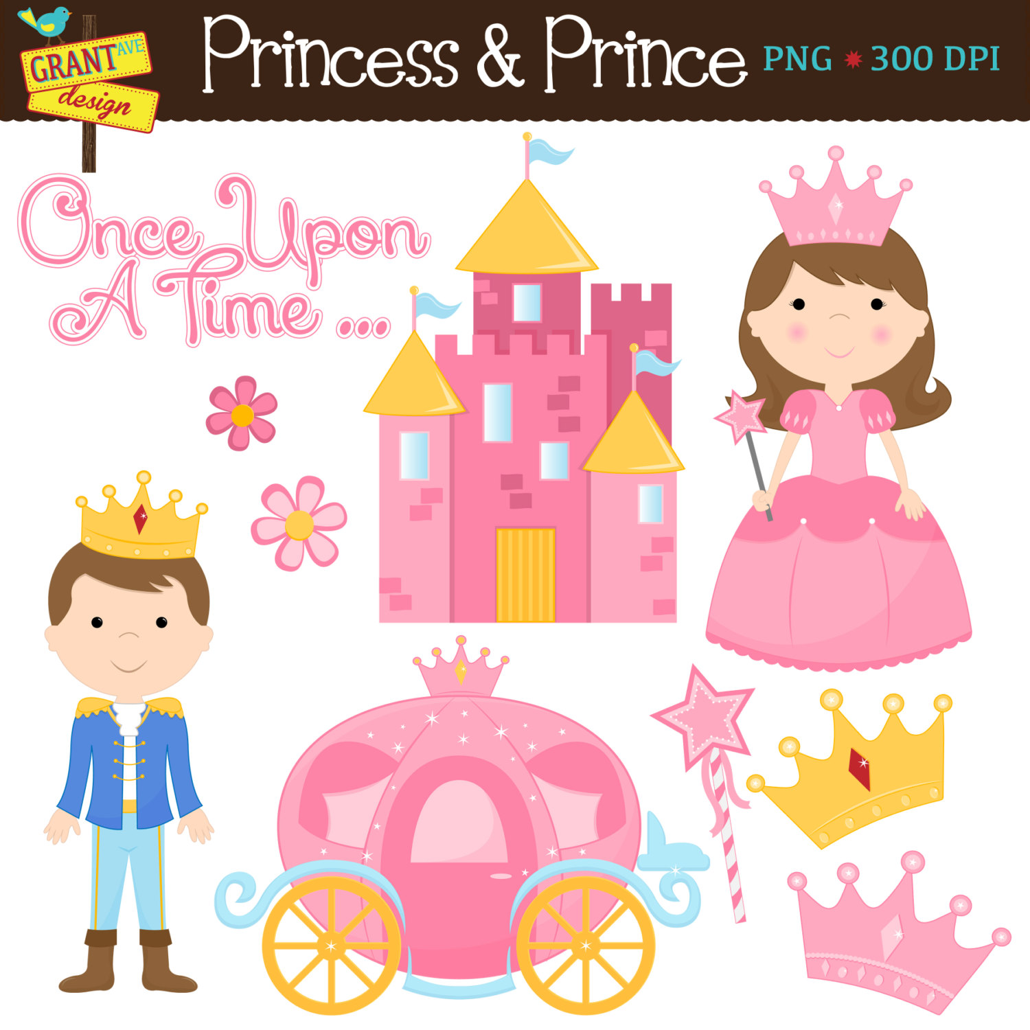 Princess Clipart Cute Digital Clipart Set By Grantavenuedesign