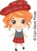 Scottish Girl   Illustration Featuring A Girl Wearing A