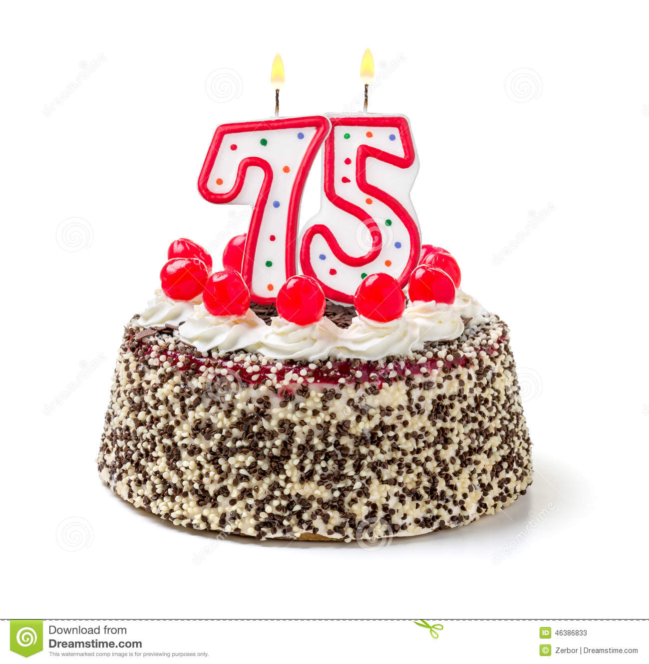Birthday Cake With Candle Number 75 Stock Photo   Image  46386833