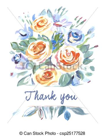 Bouquet Of Flowers Thank You Painting    Csp25177528   Search Clipart