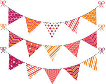 Bunting Banner Clip Art Graphics Fl Ag Banner Pink Orange Purple Baby