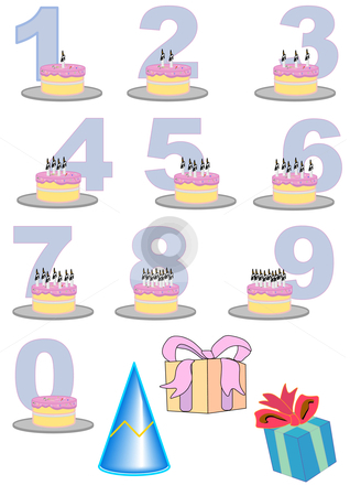 Clipart Hand Drawn Vector Illustration Of Birthday Cakes With Candles