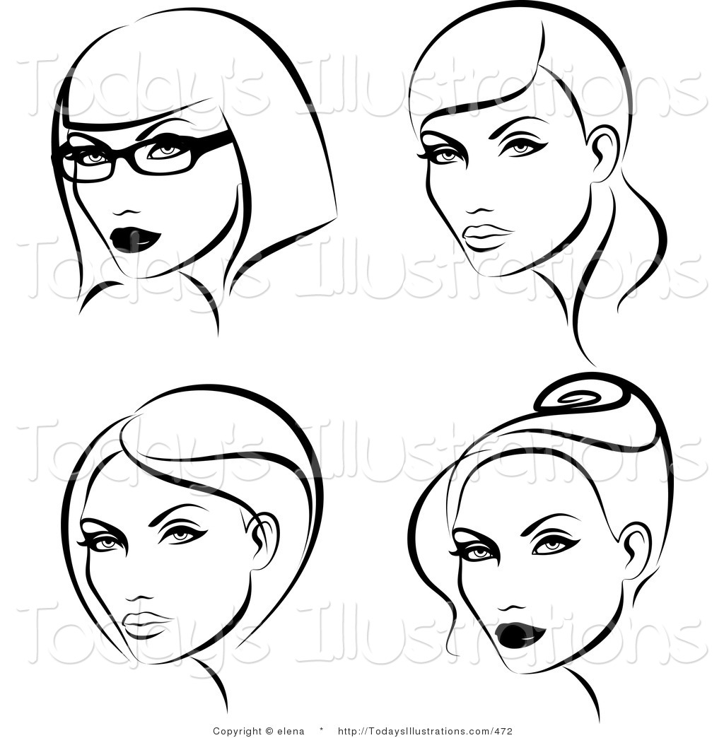 Clipart Of A Digital Collage Of Black And White Ladies With Four