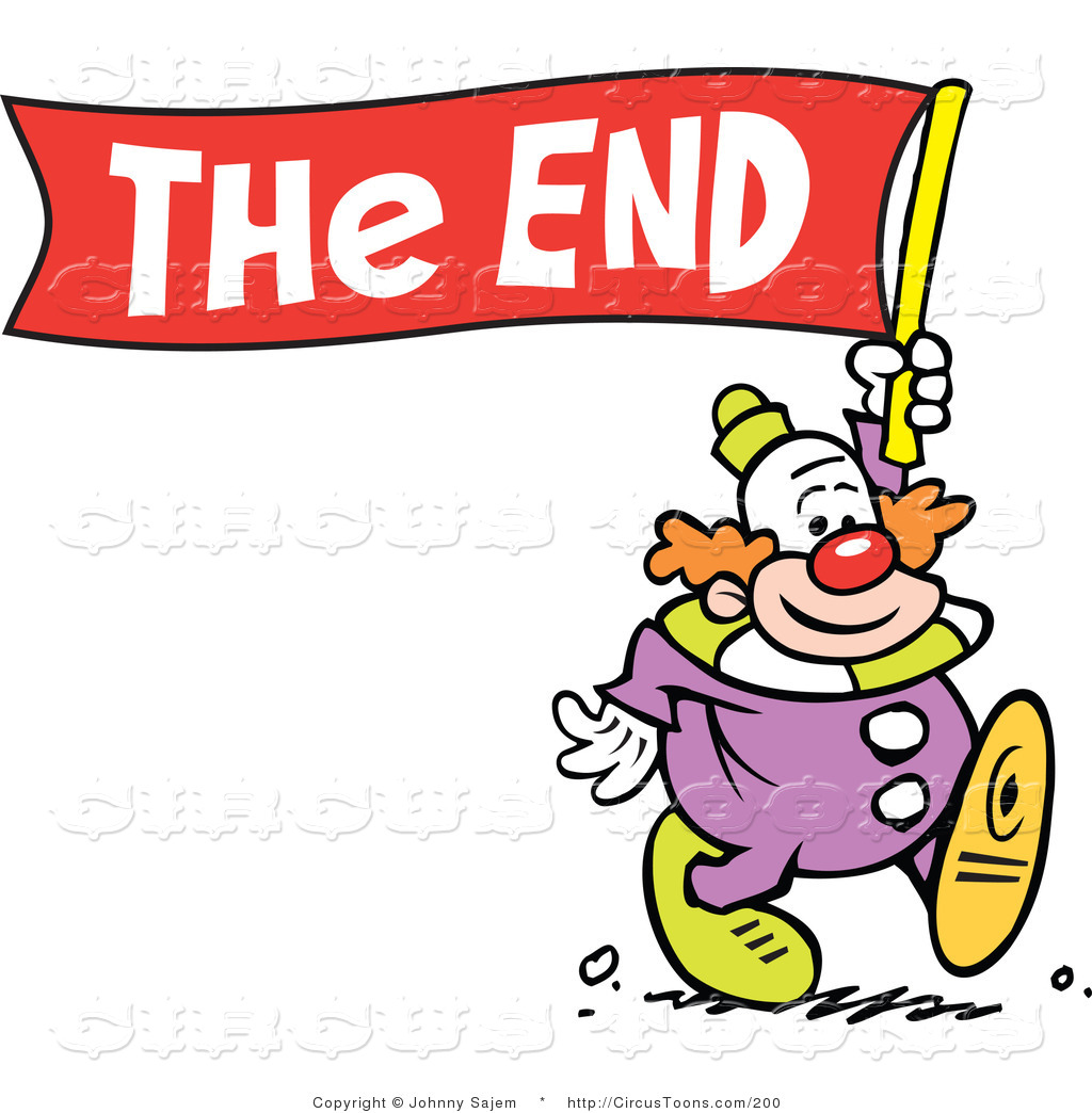 The End Clip Art End Clipart Circus Clipart Of A Smiling Clown Carrying A The End