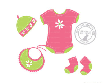 Hot Pink Baby M Dchen Layette Clipa Rt Baby Onsie Clip Art   Set 4