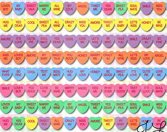Sweethearts Candy Valentines Day Clipart Instant Download Clip Art