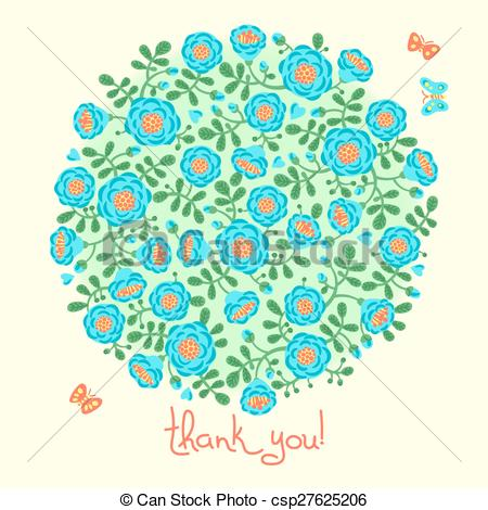 Vector   Vector Card With Floral Bouquet And Text Thank You   Stock