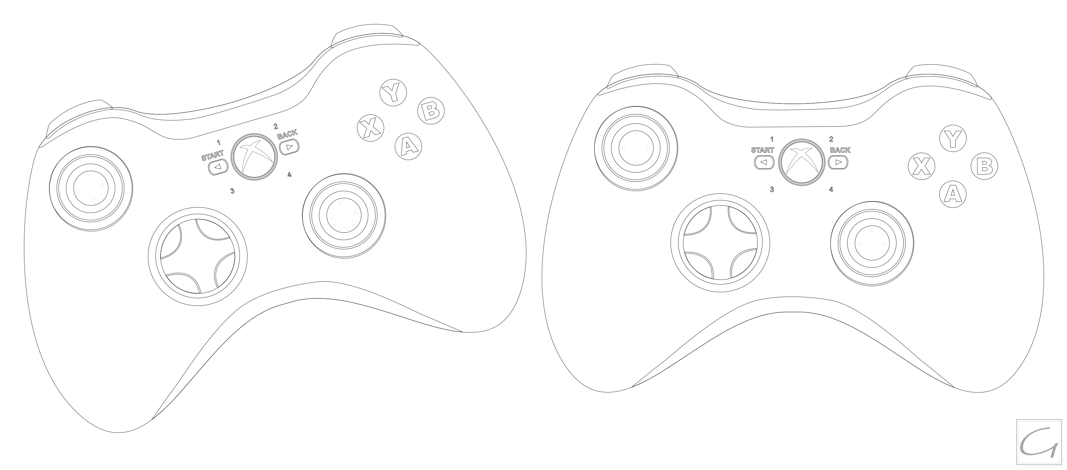 Vector Drawing Lines Xbox One : Xbox controller outline clipart suggest