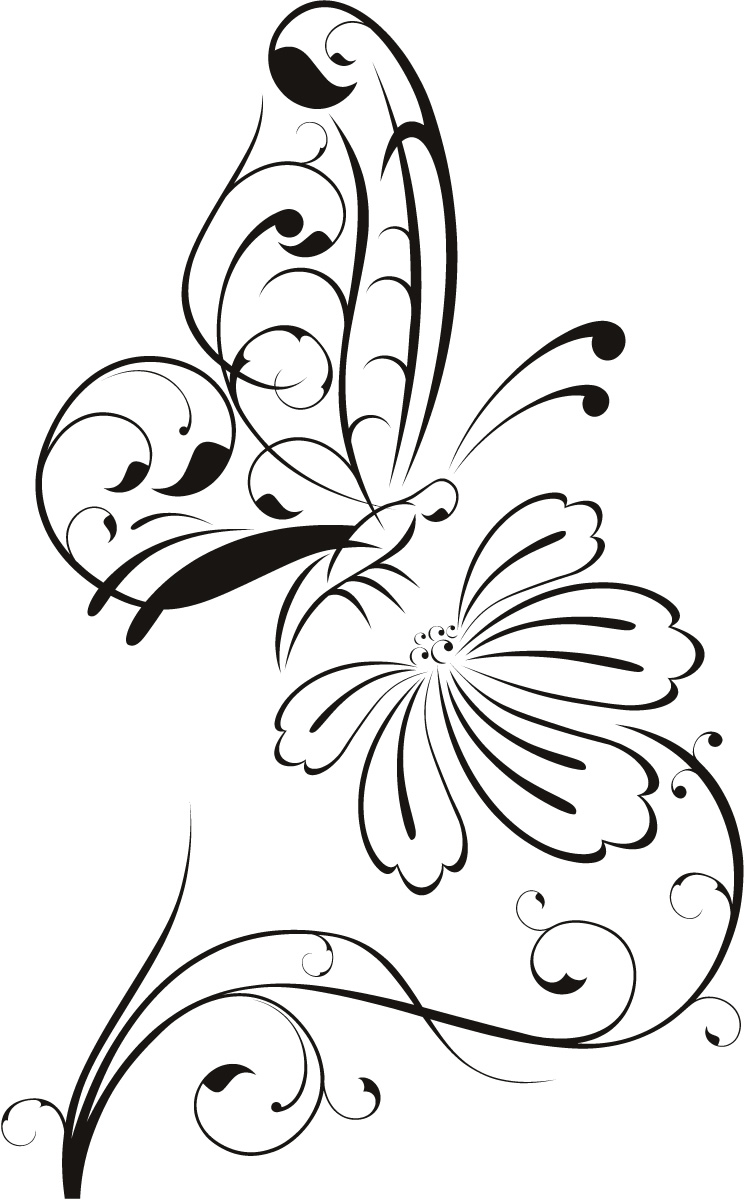 13 Butterfly And Flower Drawings Free Cliparts That You Can Download