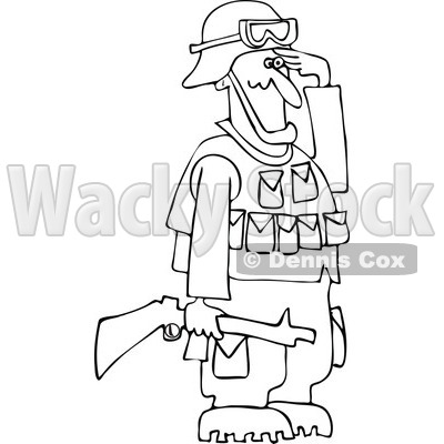 Army Soldier Holding A Gun And Saluting   Royalty Free Vector Clipart